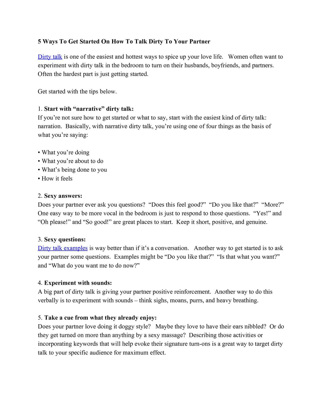 Good Dirty Talk Phrases. How to Dirty Talk - What to Say